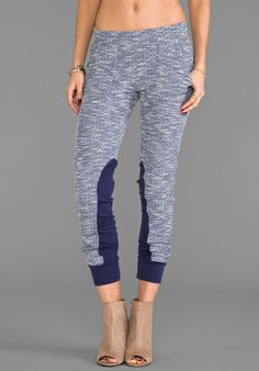LA MADE Fitted Sweatpant in Navy & White - Loungewear