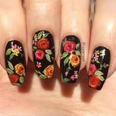54 Trendy Valentines Nails Black And Red Rose Nails, Flower Nails, Rose Nail Art, Mexican Nails, Red Acrylic Nails, Red Nail Designs, Floral Nail Art, Nagel Gel, Spring Nails
