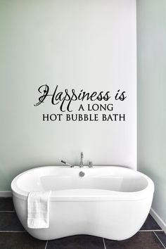 Happiness is a Long Hot Bubble Bath - Bathroom Decor, Bathroom Wall Decal, Bathroom Wall Art, Bathroom Vinyl Decal Sticker, Bubble Bath by TheVinylCompany on Etsy
