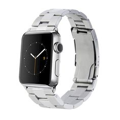Monowear Silver Metal Link Band with Polished Silver Stainless Steel Adapter For 42Mm Apple Watch - Silver ( 8132059 ), Adult Unisex