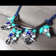 BLUE Jeweled Statement Necklace🎉HP NEW Beautiful Blue Jeweled Statement Necklace with rope chain. Purchase one for yourself or as a gift. LOWEST PRICES ARE LISTED UPFRONT! Jewelry Necklaces
