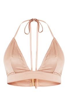 Champagne Satin BraletFeaturing soft satin fabric, delicate halterneck straps and triangle cups t. Satin Crop Top, Satin Shirt, High Waisted Cigarette Trousers, Pink Mesh Top, Bralette Crop Top, Bandeau Bra, Killer Heels, Teen Fashion Outfits, Summer Wear