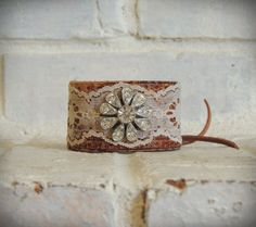 Leather and Lace Cuff / Rhinestone Cuff / Western by AFOLKTALE, $29.00