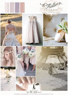 Pale pink blush lilac dusky rose ballet inspired wedding inspiration board. Tulle, satin ballet slippers and Eiffel tower!