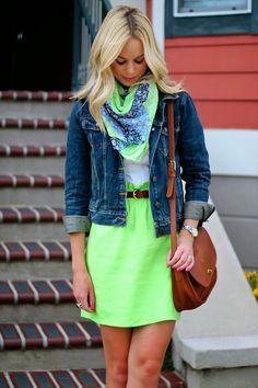 Balance a bold-hued skirt with a denim jacket.