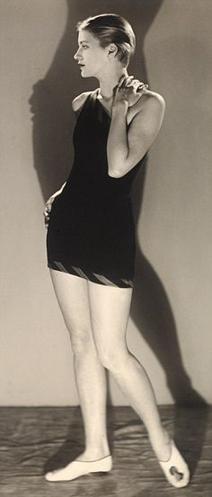 Lee Miller in a bathing costume, posing for her lover, the photographer Man Ray