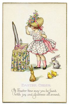 At Easter time may you be found with joy & gladness all around- vintage Easter card Easter Art, Hoppy Easter, Easter Crafts, Easter Ideas, Vintage Greeting Cards, Vintage Postcards, Fete Pascal, Images Vintage, Easter Parade