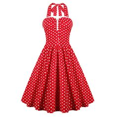 f4d50075da Womens Halter Neck Backless Red Polka Dots Classic 1950s Vintage Style Pin  up Rockabilly Party Dresses Plus Size-in Dresses from Women's Clothing ...
