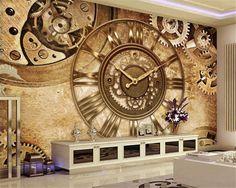 Beibehang Modo semplice decorazione della casa della pittura carta da parati retrò orologio dell'ingranaggio sfondo muro papel de parede carta da parati behang(China (Mainland))