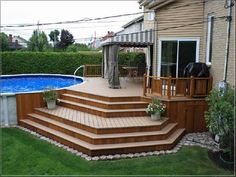 simple above ground pool deck plans : Deck Ideas