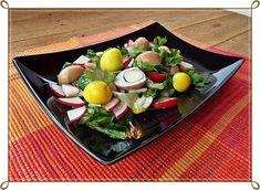 Salata cu oua de prepelita colorate natural Cheese, Ethnic Recipes, Home, Salads