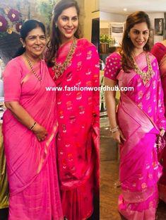 Upasana Kamineni in a pink banarasi silk saree sathyaranaraya vratham of shriya bhupal and anindith reddy Banarasi Sarees, Silk Sarees, College Wear, Sonam Kapoor, Red Wedding, Yellow, Blue, Ethnic, Sari