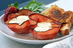 Baked eggs in ham