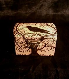 Raven And Tree Wooden Keepsake Box