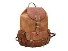 Handmade Leather Backpack Satchel Messenger Rucksack, school college vintage handbag  travel bag