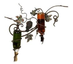 Handcrafted Metal Deluxe Grapes Wall Wine 2-Bottle Holder -- You can find more details by visiting the image link.