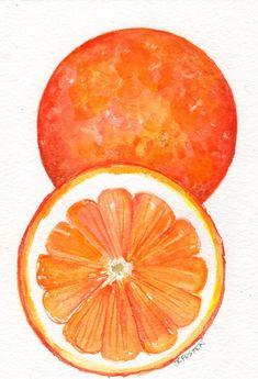 Original Oranges Watercolor Painting 5 x 7 Orange Fruit Wall Art, Kitchen Art Decor, Farmhouse Decor Watercolor Fruit, Watercolor Paintings, Original Paintings, Art Paintings, Watercolor Artists, Indian Paintings, Abstract Paintings, Landscape Paintings, Food Art Painting