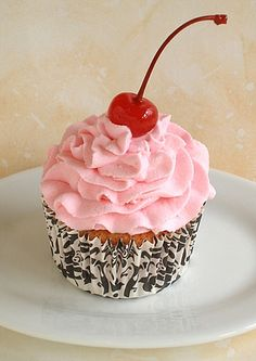 Cherry Pink Chiffon Cupcake from Baking911 in Sutton Gourmet Paper cupcake liners!