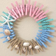 Imaginative Halloween Costumes - The Best Way To Be Artistic With A Budget Clothespin Wreath For Anyone Who Loves The Beach Etsy Seashell Crafts, Beach Crafts, Summer Crafts, Crafts To Sell, Diy Crafts, Clothespin Art, Kids Clothing Rack, Clothes Pin Wreath, Diy Wreath