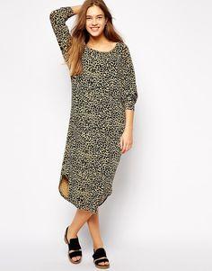 Ganni Raglan Dress in Leopard Print