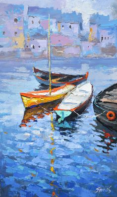 "Lonely boat - oil painting on canvas by Dmitry Spiros, 26""x40"", (65x100cm.) by spirosart on Etsy https://www.etsy.com/listing/231736328/lonely-boat-oil-painting-on-canvas-by"