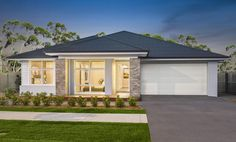The perfectly sculpted & innovative San Marino captures the essence of luxurious, timeless & practical modern living. Stirling, Modern House Facades, Modern Bungalow House, Mcdonald Jones Homes, Contemporary House Plans, House Front Design, Storey Homes, Hamptons House, Facade House