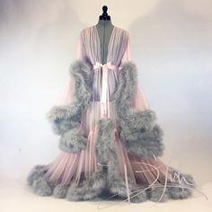 Image of Pink & Dove Grey Marabou Cassandra Dressing Gown Pretty Lingerie, Vintage Lingerie, Sexy Lingerie, Lingerie Gown, Vintage Glamour, Vintage Cars, Corsets, Peignoir, Lingerie Sleepwear