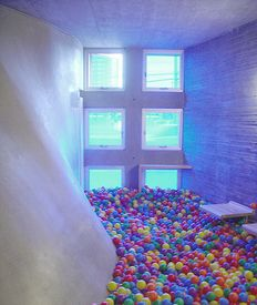 Simmons Hall  'meditation room'  Steven Holl  with intervention by students  MIT They moved the balls from  the ball pit to the never used 'meditation room'. After Irvin beaded me in the face with one.