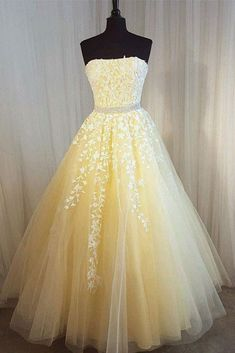Spring yellow tulle strapless A-line floor length beaded belt evening dress with lace appliques #prom #dress #promdress