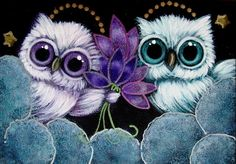 Art: TINY ANGELS OWLS - VIOLET FLOWERS FOR YOU...FROM HEAVEN by Artist Cyra R. Cancel