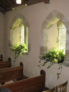 St Mary's Church, Barlavington, windowsills decorated with trailing foliages and scented roses wedding flowers Church Wedding Flowers, Altar Flowers, Church Flower Arrangements, Church Wedding Decorations, Flower Bouquet Wedding, Floral Wedding, Bridal Bouquets, Wedding Centerpieces, Floral Arrangements