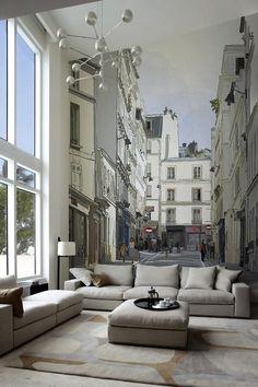 Parisian Living Room Decor | French - living room - Stark Paint Paris Wall Mural - http://pixersize ...