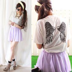 Angel Wing T Shirts, Chiffon Skirt, Sheer Socks, Collar Necklace