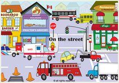 Busy street scene by Andrea Scobie Busy Street, Police, Scene, Restaurant, Games, Business, Illustration, Bakery Business, Diner Restaurant