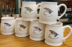 Salmon Dry Flies Series White Bell Mugs Rustic Mugs, Salmon Flies, Thunder And Lightning, Durham, Ranger, Microwave, Dishwasher, Handle, Base