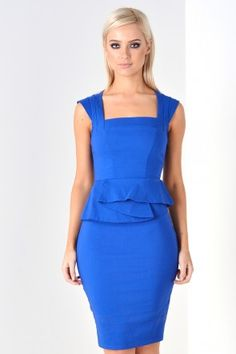 Olivia Structured Peplum Midi Dress in Royal Blue