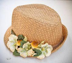 Straw hat for women Summer fedora hats Beach hat by dantiehandmade