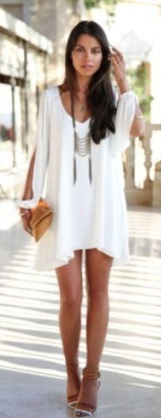 White chiffon leisure mini skater dress