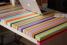 Fancy - DIY Idea: IKEA Table Gets Colorful Stripes - No Paint Needed! Enjoy It | Apartment Therapy