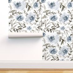 Peel & Stick Wallpaper Swatch - Flower Blue Floral Grey Taupe Custom Removable Wallpaper by Spoonflower