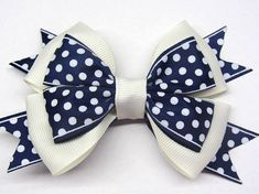 Polka dots hairbows Blue polka dot Blue white bow Beige hair