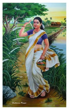 Indian love art painting and hot art Indian Women Painting, Indian Art Paintings, Sexy Painting, Woman Painting, Traditional Paintings, Traditional Art, Kerala, Village Girl, Indian Village
