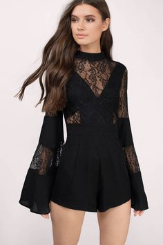Get lacy with this beautiful black romper. Pair with booties and a hat for the perfect look.