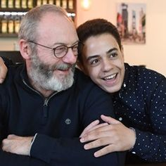 Actor Liam Cunningham and Syrian refugee Hussam Al-Heraki meet up in Germany