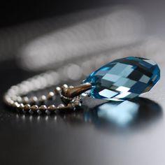 Aquamarine March birthstone crystal necklace :)