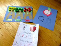 A crafts - love the apple trees ;) Kindergarten Readiness, Preschool Literacy, Preschool Letters, Preschool Lessons, Letter Activities, Alphabet Letters, Literacy Activities, Literacy Centers, Preschool Ideas