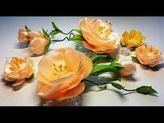 Ribbon flowers:quick and easy/Flores de las cintas:rápida y fácil/Цветы из лент:быстро и легко. Diy Lace Ribbon Flowers, Ribbon Flower Tutorial, Satin Flowers, Fabric Flowers, Paper Flowers, Bow Tutorial, Silk Ribbon Embroidery, Embroidery Kits, Floral Embroidery