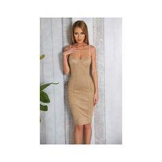 Beige Sude Knee Length Dress