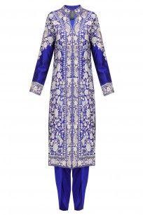 Royal Blue Thread Embroidered Jacket Kurta with Matching Dhothi Pants