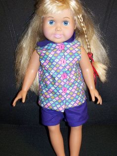 Check out this item in my Etsy shop https://www.etsy.com/listing/261962982/2-piece-purple-short-set-for-18-dolls SOLD